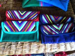 Hand-woven wallets created by the Women's Weaving Cooperative of Chajul.